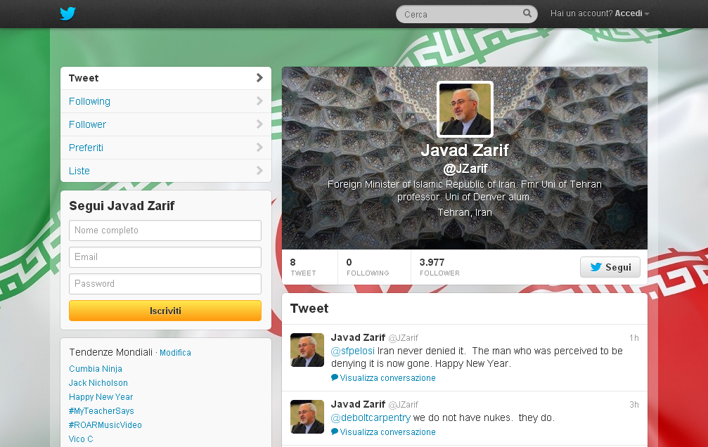 Twitter account Zarif